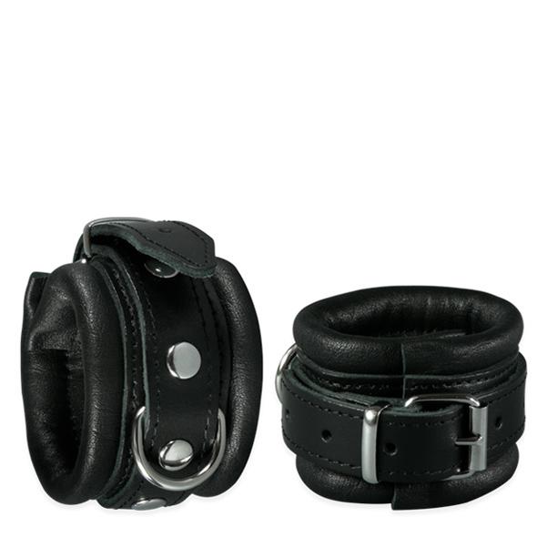 Zwart leren handboeien - Desireshop.nl - Alkmaar - Kiotos Leather